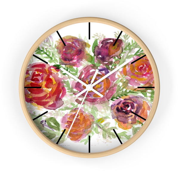 "Orange Red Floral Print French Rose 10"" Diameter Modern Wall Clock - Made in USA-Wall Clock-Wooden-White-Heidi Kimura Art LLC"