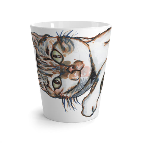 Cute Cat 12 oz Latte Mug, Peanut Meow Cat Best White Ceramic Coffee Cup, Ceramic Latte Mug For Cat Owners, Microwave-Safe, Dishwasher-Safe Tea Coffee Cup -Printed in USA, Cat Coffee Mug, Best Cat Mugs, Great Gifts For Cat Lovers