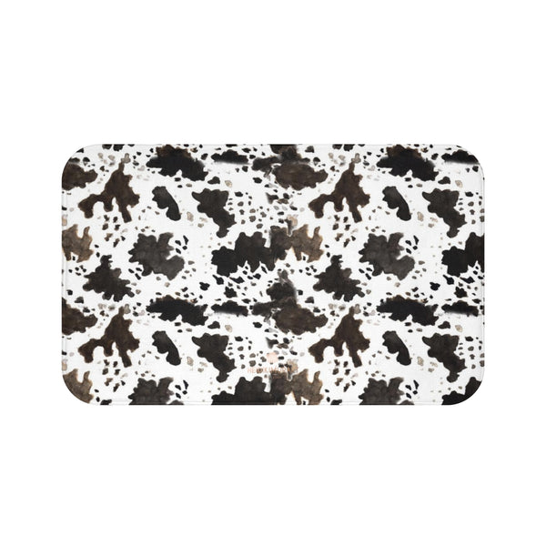 Cow Print White Brown Black Designer 100% Microfiber Anti-Slip Backing Bath Mat-Bath Mat-Large 34x21-Heidi Kimura Art LLC