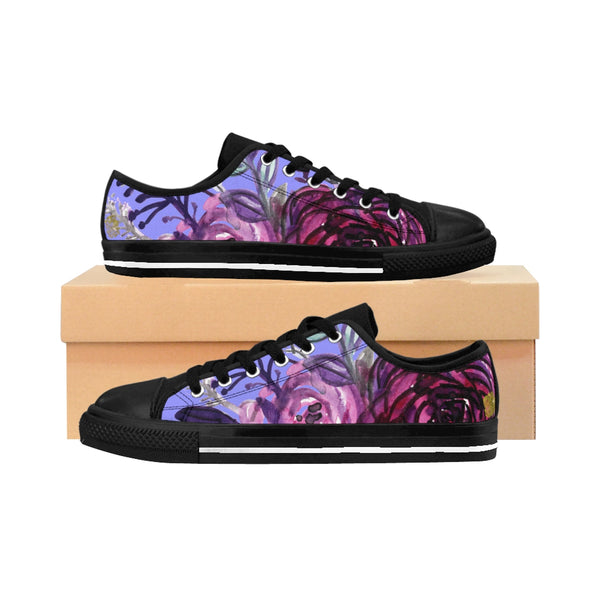 Romantic Purple Rose Floral Print Designer Women's Fashion Sneakers (US Size: 6-12)-Women's Low Top Sneakers-US 6-Black-Heidi Kimura Art LLC Purple Rose Women's Sneakers, Romantic Purple Rose Floral Print Designer Women's Sneakers, Tennis Low Tops, Tennis Shoes, Trainers, Best Floral Sneakers, Women's Low-top Sneakers, Floral Print Shoes, Floral Women's Low Top Tennis Running Casual Fashion Sneakers Shoes (US Size 6-12)