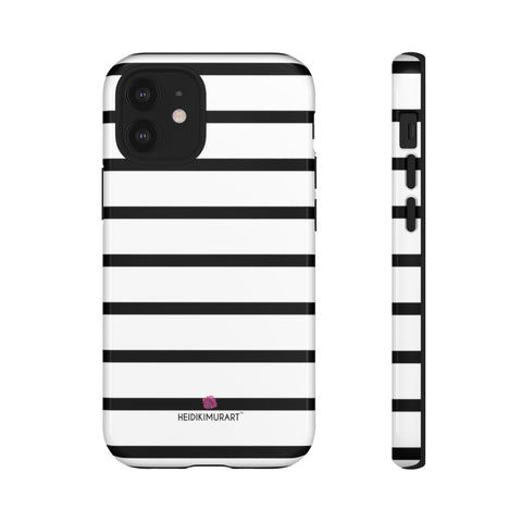 Black Striped Designer Tough Cases, Modern Minimalist Designer Case Mate Best Tough Phone Case For iPhones and Samsung Galaxy Devices-Made in USA