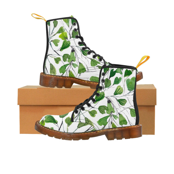 Green Maidenhair Women's Canvas Boots, Tropical Fern Print Winter Boots For Ladies-Shoes-Printify-Brown-US 8.5-Heidi Kimura Art LLC
