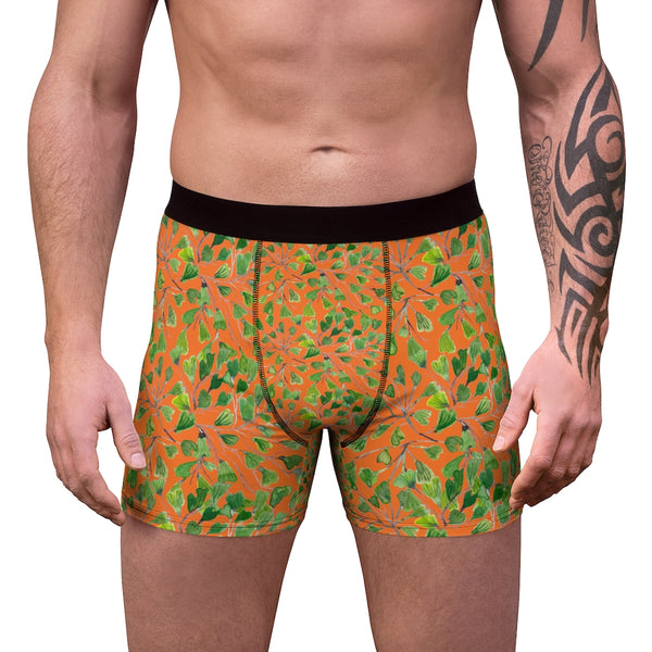Orange Maidenhair Men's Boxer Briefs, Bright Green Tropical Fern Leaf Print Underwear For Men-All Over Prints-Printify-L-Black Seams-Heidi Kimura Art LLC