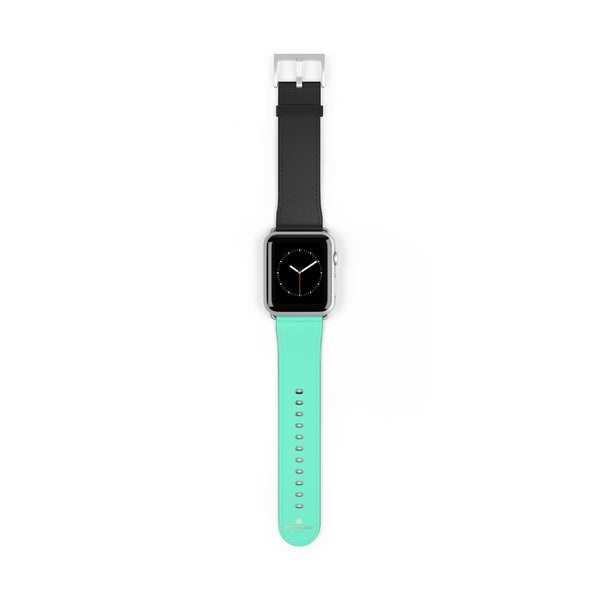 Dual Color Black & Light Blue 38mm/ 42mm Watch Band For Apple Watch- Made in USA-Watch Band-42 mm-Silver Matte-Heidi Kimura Art LLC