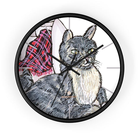 Shiodo Cute Gray Cat Animal Art Print 10 in. Dia. Indoor Wall Clock-Made in USA,Cat Wall Clock,Cat Clock,Cat Art Clock,Modern Wall Clocks Shiodo Cute Gray Cat Animal Art Print 10 in. Dia. Indoor Wall Clock- Made in USA, Unique Large Wood Wall Clock, Indoor Clock Home Decor