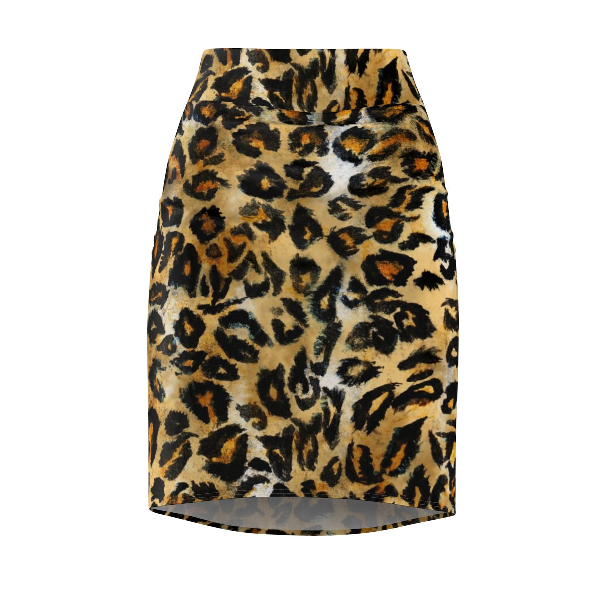 Leopard Print Women's Pencil Skirt, Animal Print Designer Skirt -Made in USA(Size XS-2XL)-Pencil Skirt-L-Heidi Kimura Art LLC