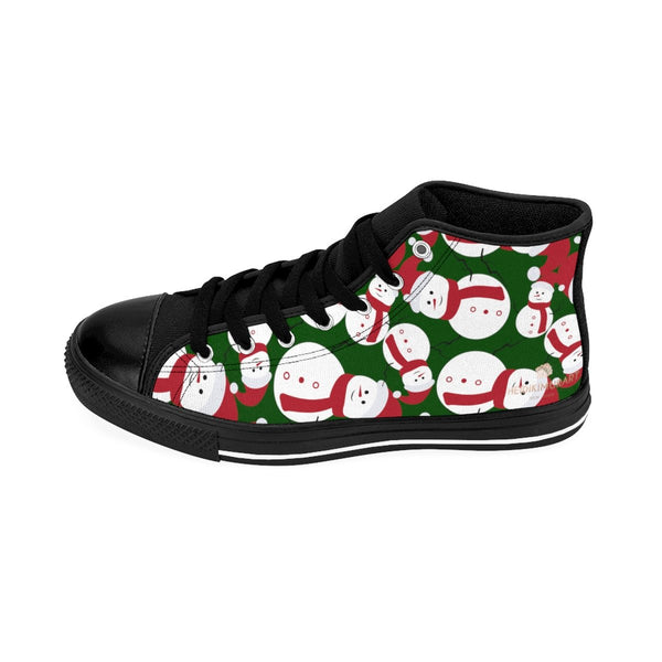 Dark Green Cute Christmas Red White Snowman Men's High-Top Sneakers-Men's High Top Sneakers-Heidi Kimura Art LLC