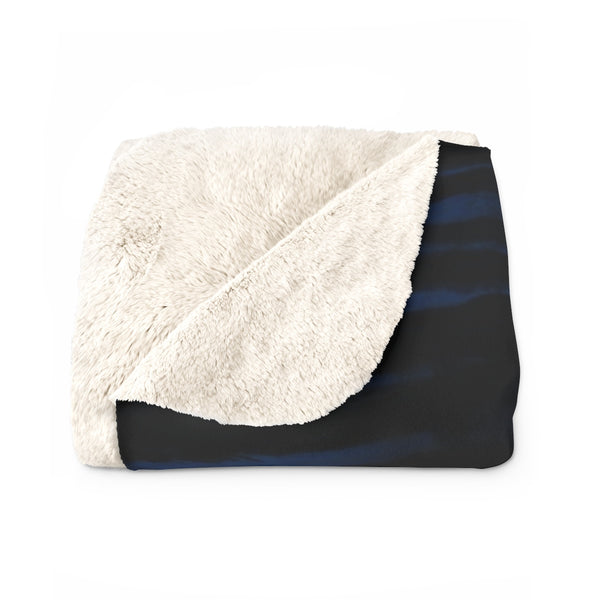 Navy Blue Tiger Stripe Animal Print Designer Cozy Sherpa Fleece Blanket-Made in USA-Blanket-Heidi Kimura Art LLC