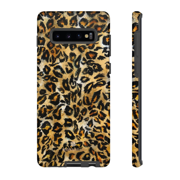 Brown Leopard Tough Cases, Animal Print Best Designer Phone Case-Made in USA-Phone Case-Printify-Samsung Galaxy S10 Plus-Glossy-Heidi Kimura Art LLC