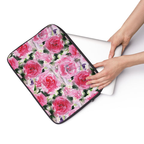 "Pink Rose Floral Print 12', 13"", 14"" Laptop Sleeve Computer Bag Cover- Made in the USA-Laptop Sleeve-Heidi Kimura Art LLC"