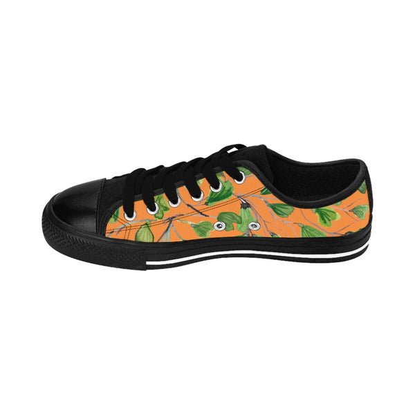 Orange Green Maidenhair Print Men's Sneakers, Best Tropical Leaf Print Men's Low Top Tennis Shoes-Shoes-Printify-Black-US 9-Heidi Kimura Art LLC Orange Green Maidenhair Men's Sneakers, Best Tropical Leaf Print Premium Men's Nylon Canvas Tennis Fashion Sneakers Shoes (US Size: 7-14)