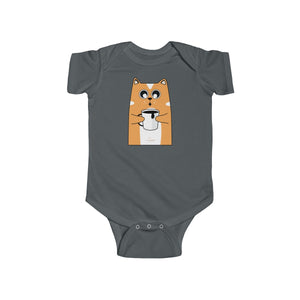 Orange Cat Loves Coffee Funny Infant Fine Jersey Regular Fit Unisex Cotton Cute Bodysuit Kids Clothing - Made in UK
