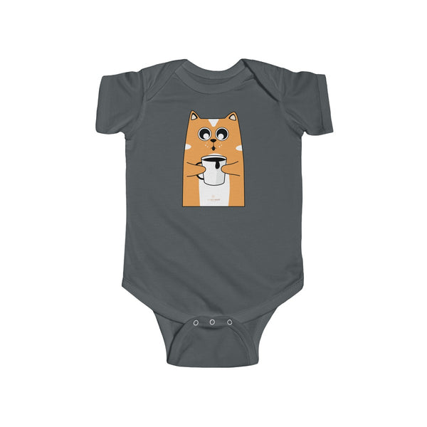 Orange Cat Loves Coffee Infant Fine Jersey Regular Fit Unisex Bodysuit - Made in UK-Infant Short Sleeve Bodysuit-Charcoal-NB-Heidi Kimura Art LLC