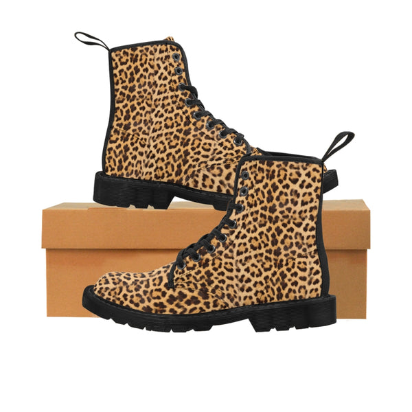 Brown Leopard Men's Canvas Boots, Animal Print Designer Winter Laced-up Boots For Men-Shoes-Printify-Black-US 8-Heidi Kimura Art LLC