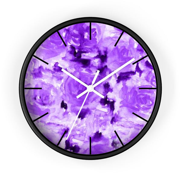 Purple Rose Floral Print 10 inch Diameter Modern Unique Wall Clock - Made in USA-Wall Clock-Black-White-Heidi Kimura Art LLC