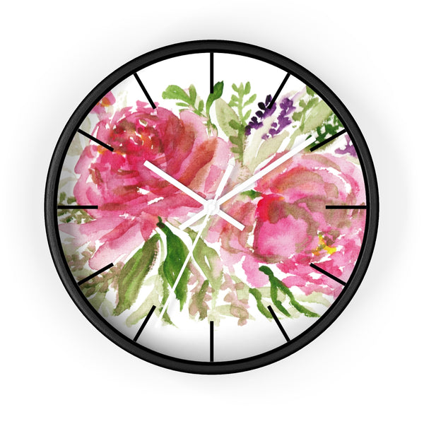 Pink Spring Rose Floral Print Flower 10 inch Diameter Flower Wall Clock - Made in USA-Wall Clock-Black-White-Heidi Kimura Art LLC