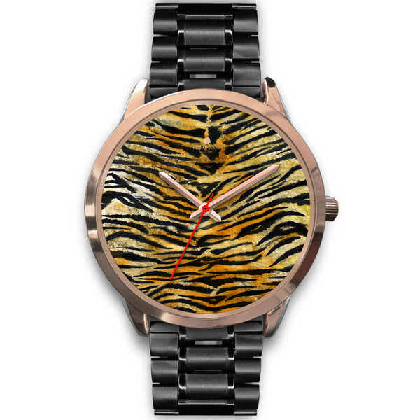 Luxury Tiger Stripe Faux Fur Designer Men's 40mm or Women's 34mm Metal Watch-Rose Gold Watch-Mens 40mm-Black Metal Link-Heidi Kimura Art LLC