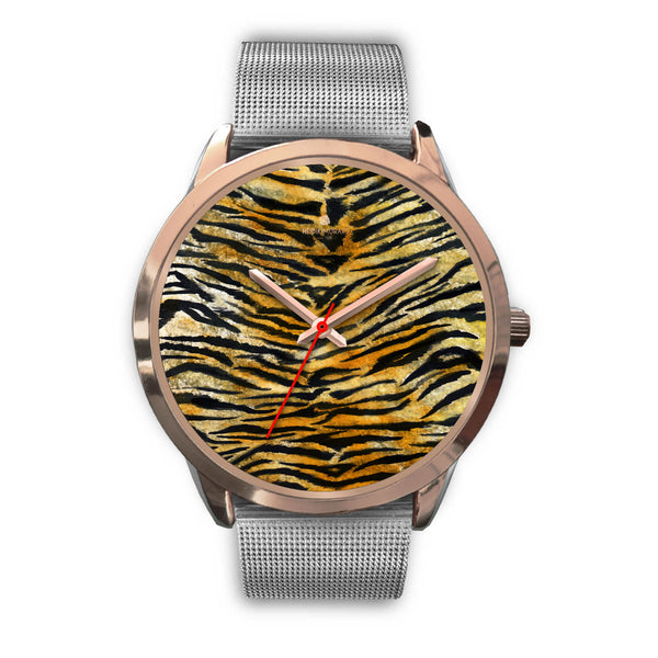 Luxury Tiger Stripe Faux Fur Designer Men's 40mm or Women's 34mm Metal Watch-Rose Gold Watch-Mens 40mm-Silver Metal Mesh-Heidi Kimura Art LLC