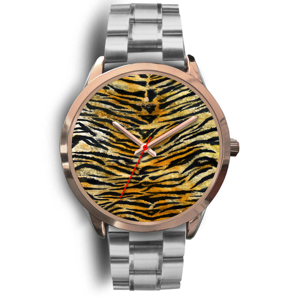 Luxury Tiger Stripe Faux Fur Designer Men's 40mm or Women's 34mm Metal Watch-Rose Gold Watch-Mens 40mm-Silver Metal Link-Heidi Kimura Art LLC
