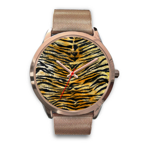 Luxury Tiger Stripe Faux Fur Designer Men's 40mm or Women's 34mm Metal Watch-Rose Gold Watch-Mens 40mm-Rose Gold Metal Mesh-Heidi Kimura Art LLC