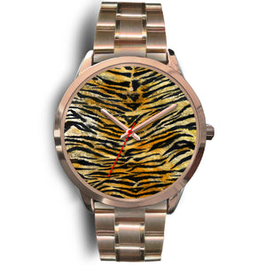 Luxury Tiger Stripe Faux Fur Designer Men's 40mm or Women's 34mm Metal Watch-Rose Gold Watch-Mens 40mm-Rose Gold Metal Link-Heidi Kimura Art LLC