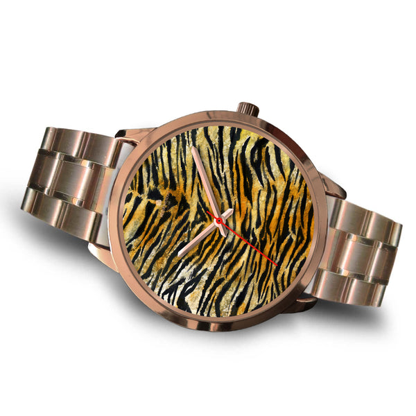 Luxury Tiger Stripe Faux Fur Designer Men's 40mm or Women's 34mm Metal Watch-Rose Gold Watch-Heidi Kimura Art LLC