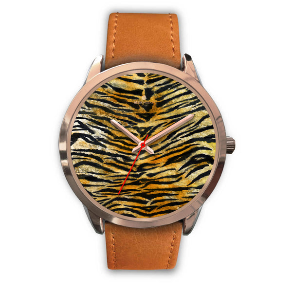 Luxury Tiger Stripe Faux Fur Designer Men's 40mm or Women's 34mm Metal Watch-Rose Gold Watch-Mens 40mm-Brown Leather-Heidi Kimura Art LLC