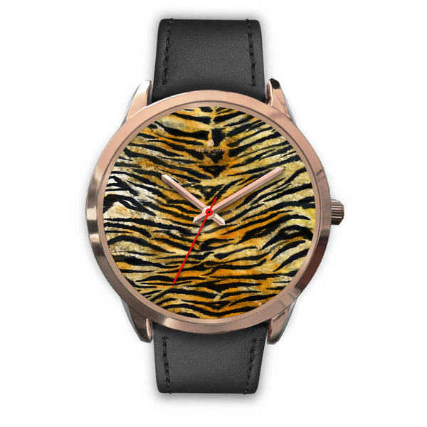 Luxury Tiger Stripe Faux Fur Designer Men's 40mm or Women's 34mm Metal Watch-Rose Gold Watch-Mens 40mm-Black Leather-Heidi Kimura Art LLC
