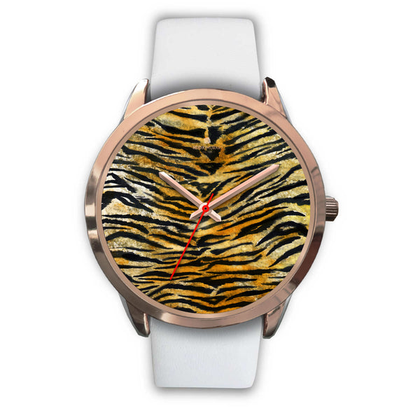 Luxury Tiger Stripe Faux Fur Designer Men's 40mm or Women's 34mm Metal Watch-Rose Gold Watch-Mens 40mm-White Leather-Heidi Kimura Art LLC