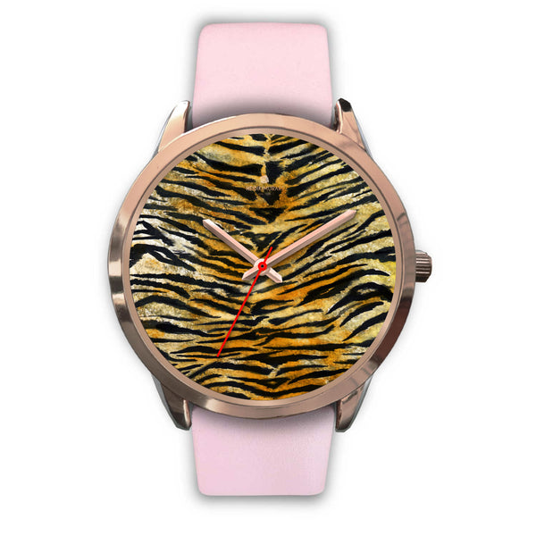 Luxury Tiger Stripe Faux Fur Designer Men's 40mm or Women's 34mm Metal Watch-Rose Gold Watch-Mens 40mm-Pink Leather-Heidi Kimura Art LLC
