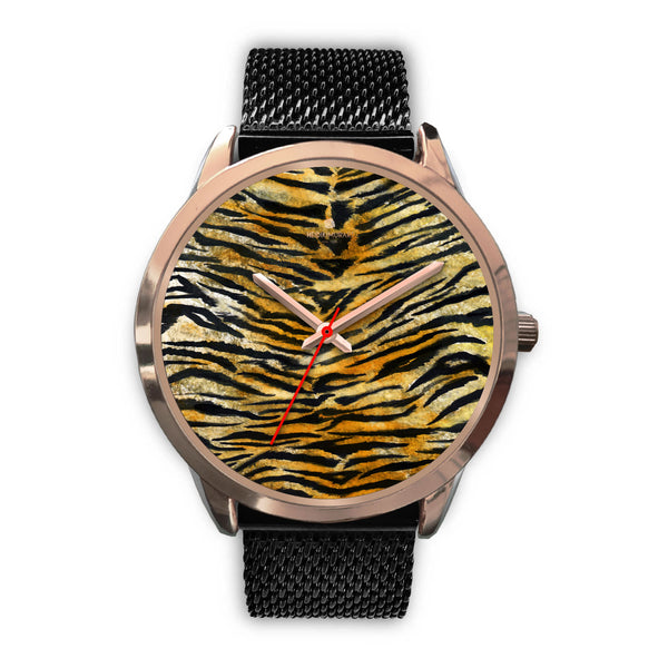 Luxury Tiger Stripe Faux Fur Designer Men's 40mm or Women's 34mm Metal Watch-Rose Gold Watch-Mens 40mm-Black Metal Mesh-Heidi Kimura Art LLC