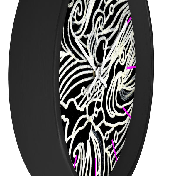Japanese Waves Wall Clock, Black White Waves 10 inch Dia. Indoor Wall Clock-Made in USA-Wall Clock-Heidi Kimura Art LLC