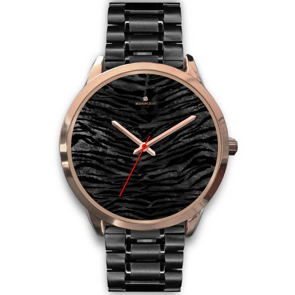 Dark Black Tiger Stripe Print Designer Men's 40mm or Women's 34mm Metal Watch-Rose Gold Watch-Mens 40mm-Black Metal Link-Heidi Kimura Art LLC