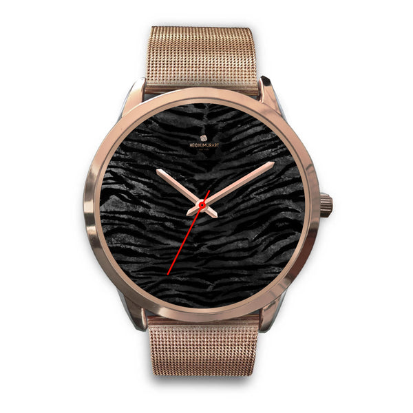 Dark Black Tiger Stripe Print Designer Men's 40mm or Women's 34mm Metal Watch-Rose Gold Watch-Mens 40mm-Rose Gold Metal Mesh-Heidi Kimura Art LLC