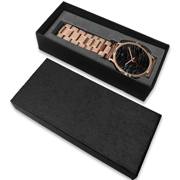 Dark Black Tiger Stripe Print Designer Men's 40mm or Women's 34mm Metal Watch-Rose Gold Watch-Heidi Kimura Art LLC