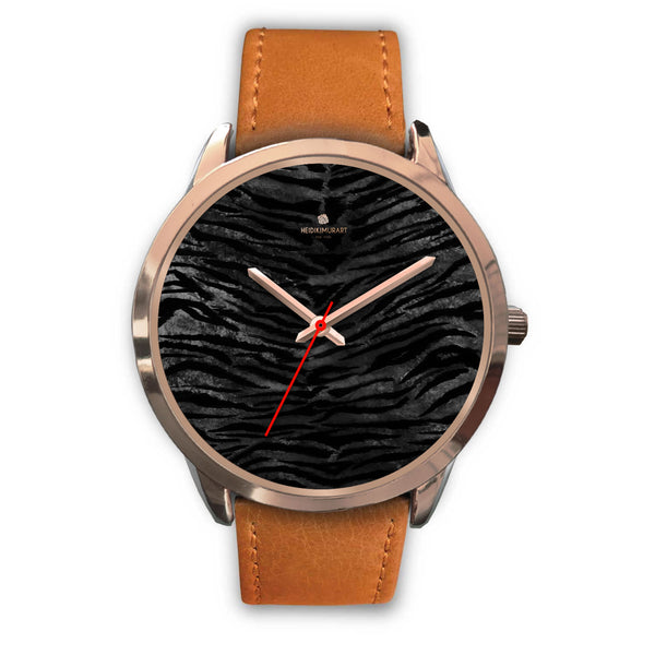 Dark Black Tiger Stripe Print Designer Men's 40mm or Women's 34mm Metal Watch-Rose Gold Watch-Mens 40mm-Brown Leather-Heidi Kimura Art LLC