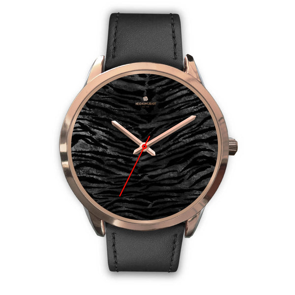 Dark Black Tiger Stripe Print Designer Men's 40mm or Women's 34mm Metal Watch-Rose Gold Watch-Mens 40mm-Black Leather-Heidi Kimura Art LLC