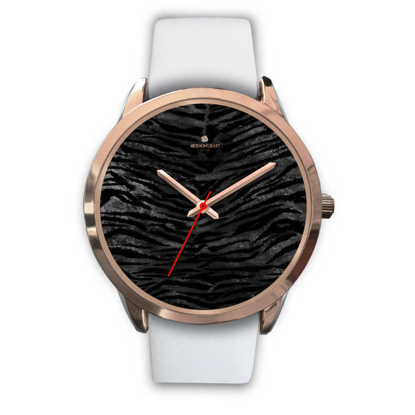 Dark Black Tiger Stripe Print Designer Men's 40mm or Women's 34mm Metal Watch-Rose Gold Watch-Mens 40mm-White Leather-Heidi Kimura Art LLC
