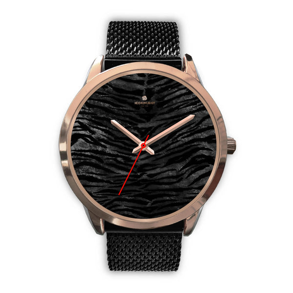 Dark Black Tiger Stripe Print Designer Men's 40mm or Women's 34mm Metal Watch-Rose Gold Watch-Mens 40mm-Black Metal Mesh-Heidi Kimura Art LLC