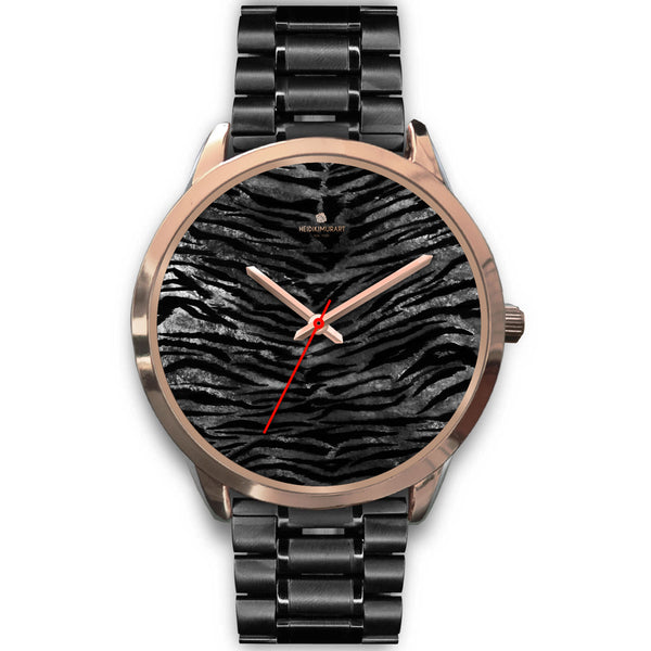 Luxury Black Tiger Stripe Faux Fur Men's/ Women's Rose Gold Accent Unisex Watch-Rose Gold Watch-Mens 40mm-Black Metal Link-Heidi Kimura Art LLC