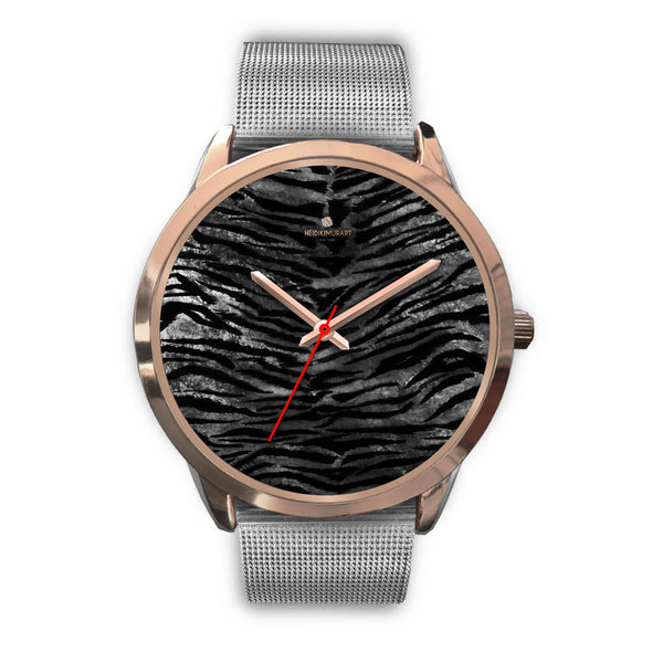 Luxury Black Tiger Stripe Faux Fur Men's/ Women's Rose Gold Accent Unisex Watch-Rose Gold Watch-Mens 40mm-Silver Metal Mesh-Heidi Kimura Art LLC