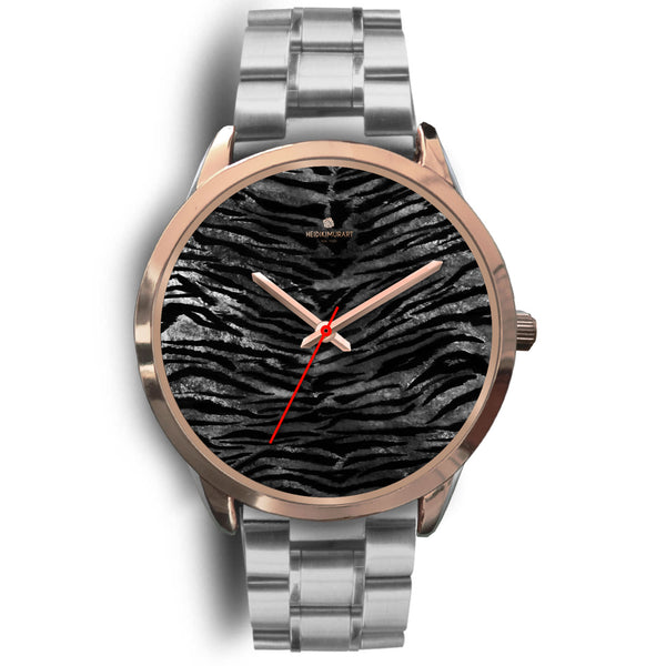 Luxury Black Tiger Stripe Faux Fur Men's/ Women's Rose Gold Accent Unisex Watch-Rose Gold Watch-Mens 40mm-Silver Metal Link-Heidi Kimura Art LLC