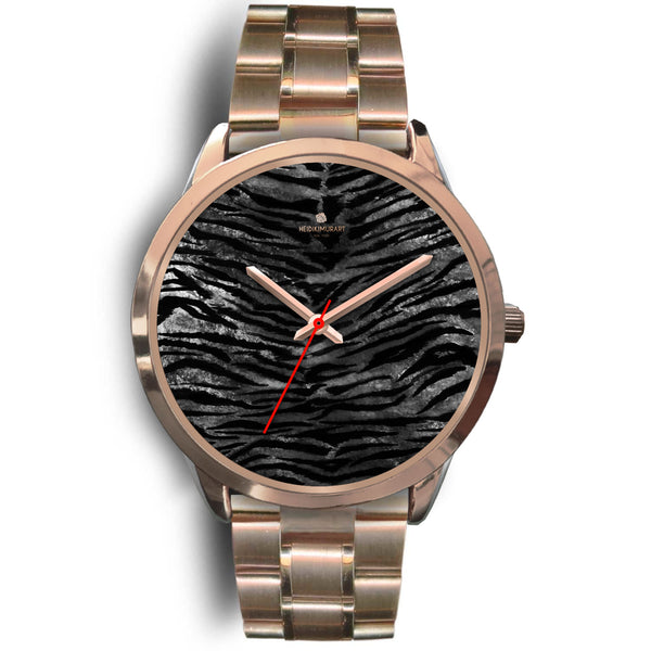 Luxury Black Tiger Stripe Faux Fur Men's/ Women's Rose Gold Accent Unisex Watch-Rose Gold Watch-Mens 40mm-Rose Gold Metal Link-Heidi Kimura Art LLC