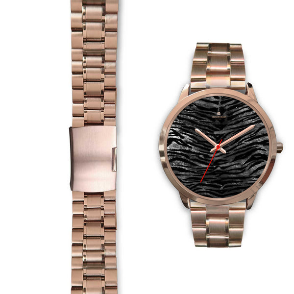 Luxury Black Tiger Stripe Faux Fur Men's/ Women's Rose Gold Accent Unisex Watch-Rose Gold Watch-Heidi Kimura Art LLC