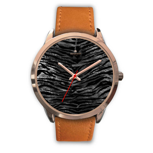 Luxury Black Tiger Stripe Faux Fur Men's/ Women's Rose Gold Accent Unisex Watch-Rose Gold Watch-Mens 40mm-Brown Leather-Heidi Kimura Art LLC