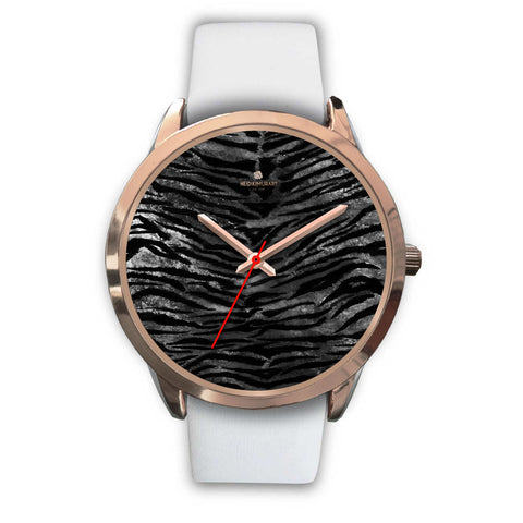 Luxury Black Tiger Stripe Faux Fur Men's/ Women's Rose Gold Accent Unisex Watch-Rose Gold Watch-Mens 40mm-White Leather-Heidi Kimura Art LLC