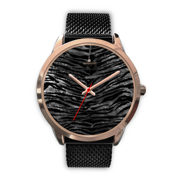 Luxury Black Tiger Stripe Faux Fur Men's/ Women's Rose Gold Accent Unisex Watch-Rose Gold Watch-Mens 40mm-Black Metal Mesh-Heidi Kimura Art LLC