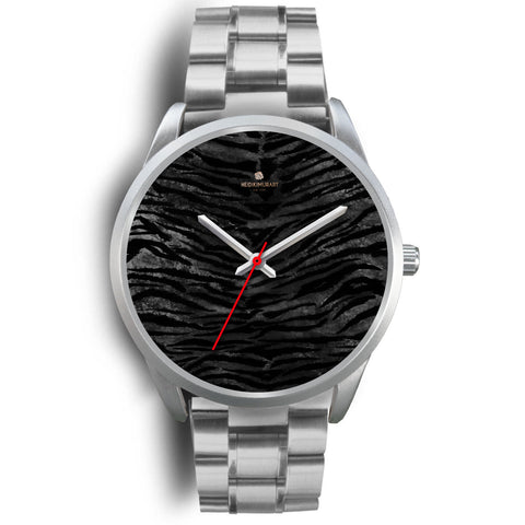 Black Tiger Stripe Faux Fur Animal Skin Print Custom Designed Silver Metal Watch-Silver Watch-Mens 40mm-Silver Metal Link-Heidi Kimura Art LLC Black Tiger Stripe Watch, Black Tiger Stripe Faux Fur Animal Skin Print Custom Designed Silver Metal Watch