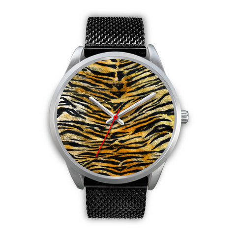 Tiger Stripe Faux Fur Stripes Pattern Silver Metal Designer Unisex Premium Watch-Silver Watch-Mens 40mm-Black Metal Mesh-Heidi Kimura Art LLC