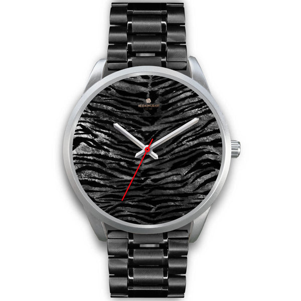 Black Tiger Stripe Faux Fur Stripes Pattern Silver Metal Personalizable Unisex Watch-Silver Watch-Mens 40mm-Black Metal Link-Heidi Kimura Art LLC Black Tiger Stripe Watch, Black Tiger Stripe Faux Fur Stripes Pattern Silver Accent Metal Personalizable Unisex Watch